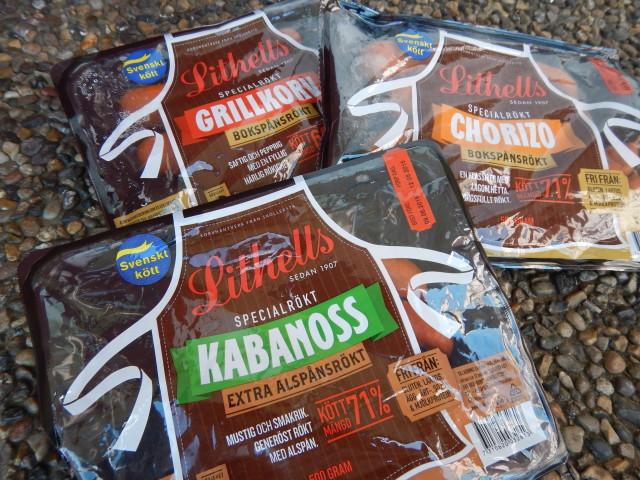 Lithells specialrökt chorizo, grillkorv och kabanoss